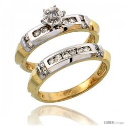 14k Gold 2-Piece Diamond Engagement Ring Set w/ Rhodium Accent, w/ 0.40 Carat Brilliant Cut Diamonds, 5/32 in. (4mm) wide
