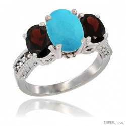 10K White Gold Ladies Natural Turquoise Oval 3 Stone Ring with Garnet Sides Diamond Accent