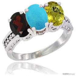 10K White Gold Natural Garnet, Turquoise & Lemon Quartz Ring 3-Stone Oval 7x5 mm Diamond Accent
