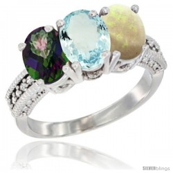 14K White Gold Natural Mystic Topaz, Aquamarine & Opal Ring 3-Stone 7x5 mm Oval Diamond Accent