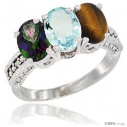 14K White Gold Natural Mystic Topaz, Aquamarine & Tiger Eye Ring 3-Stone 7x5 mm Oval Diamond Accent
