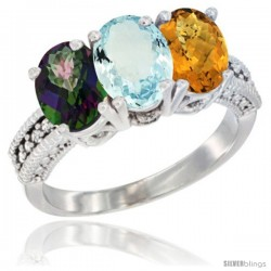 14K White Gold Natural Mystic Topaz, Aquamarine & Whisky Quartz Ring 3-Stone 7x5 mm Oval Diamond Accent