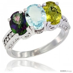 14K White Gold Natural Mystic Topaz, Aquamarine & Lemon Quartz Ring 3-Stone 7x5 mm Oval Diamond Accent