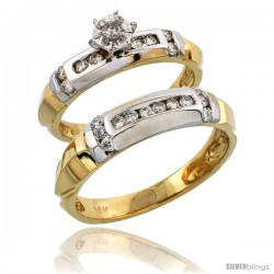 14k Gold 2-Piece Diamond Ring Set w/ Rhodium Accent ( Engagement Ring & Man's Wedding Band ), w/ 0.44 Carat Brilliant Cut