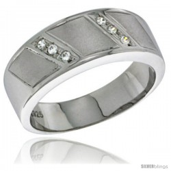 Sterling Silver Cubic Zirconia Mens Wedding Band Ring 5/16 in wide -Style Agcz622mb