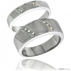 Sterling Silver Cubic Zirconia 2-Piece Wedding Ring Set for Him 8mm 5/16 in wide & Her 4mm 5/32 in wide