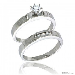Sterling Silver Cubic Zirconia Ladies' Engagement Ring Set 2-Piece, 5/32 in wide -Style Agcz623e2