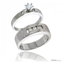 Sterling Silver Cubic Zirconia Engagement Rings Set for Him & Her Brilliant Cut Solitaire 1/4 in wide -Style Agcz623em