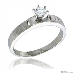 Sterling Silver Cubic Zirconia Solitaire Engagement Ring 0.5 ct size Brilliant Cut 5/32 in wide