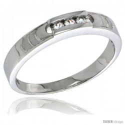 Sterling Silver Cubic Zirconia Ladies' Wedding Band Ring, 5/32 in wide -Style Agcz623lb