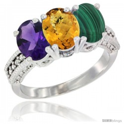 14K White Gold Natural Amethyst, Whisky Quartz & Malachite Ring 3-Stone 7x5 mm Oval Diamond Accent