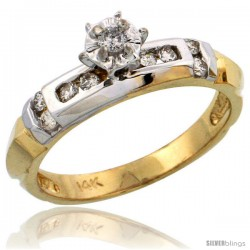 14k Gold Diamond Engagement Ring w/ Rhodium Accent, w/ 0.21 Carat Brilliant Cut Diamonds, 5/32 in. (4mm) wide