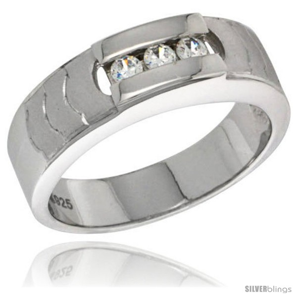 sterling silver cubic zirconia mens wedding band ring 1 4