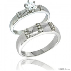 Sterling Silver Cubic Zirconia Engagement Rings Set for Him & Her Brilliant Cut Solitaire 1/4 in wide -Style Agcz624em