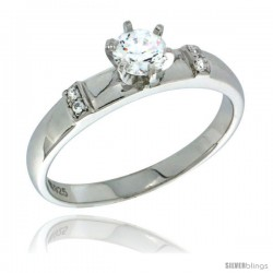 Sterling Silver Cubic Zirconia Solitaire Engagement Ring 0.65 ct size Brilliant Cut 5/32 in wide