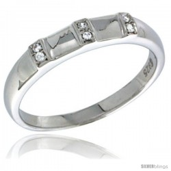 Sterling Silver Cubic Zirconia Ladies' Wedding Band Ring, 5/32 in wide -Style Agcz624lb