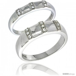 Sterling Silver Cubic Zirconia 2-Piece Wedding Ring Set for Him 6mm 1/4 in wide & Her 4mm 5/32 in wide -Style Agcz624w2