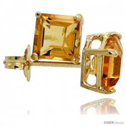 14K Gold 5 mm Citrine Square Stud Earrings 1 cttw November Birthstone