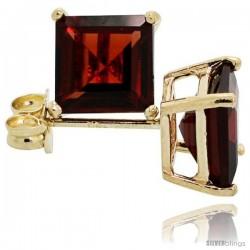 14K Gold 6 mm Garnet Square Stud Earrings 2 cttw January Birthstone