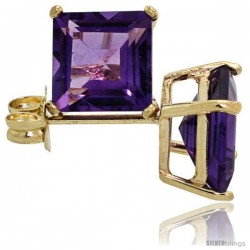 14K Gold 6 mm Amethyst Square Stud Earrings 2 cttw February Birthstone