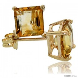 14K Gold 6 mm Citrine Square Stud Earrings 2 cttw November Birthstone