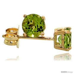 14K Gold 4 mm Peridot Stud Earrings 1/2 cttw August Birthstone