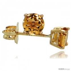 14K Gold 4 mm Citrine Stud Earrings 1/2 cttw November Birthstone