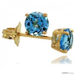 14K Gold 4 mm Blue Topaz Stud Earrings 1/2 cttw December Birthstone