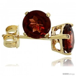 14K Gold 5 mm Garnet Stud Earrings 1 cttw January Birthstone