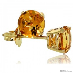 14K Gold 5 mm Citrine Stud Earrings 1 cttw November Birthstone