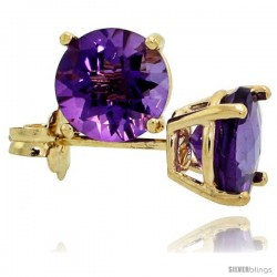 14K Gold 6 mm Amethyst Stud Earrings 2 cttw February Birthstone
