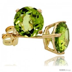 14K Gold 6 mm Peridot Stud Earrings 2 cttw August Birthstone
