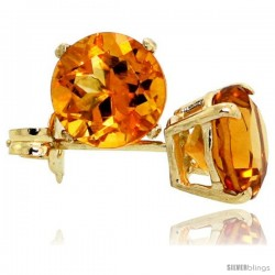 14K Gold 6 mm Citrine Stud Earrings 2 cttw November Birthstone