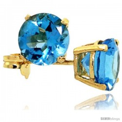 14K Gold 6 mm Blue Topaz Stud Earrings 2 cttw December Birthstone