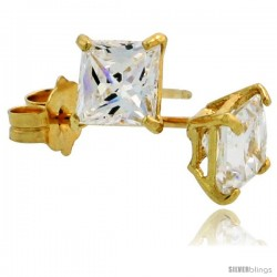 14K Gold 4 mm Square CZ Stud Earrings Basket Set 3/4 Carat Size