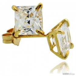 14K Gold 5 mm Square CZ Stud Earrings Basket Set 1 1/2 Carat Size