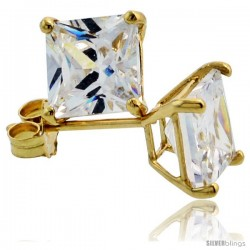 14K Gold 6 mm Square CZ Stud Earrings Basket Set 2 1/2 Carat Size