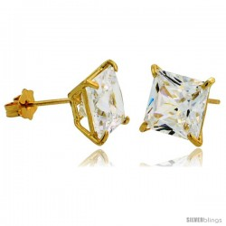 14K Gold 7 mm Square CZ Stud Earrings Basket Set 3 1/2 Carat Size