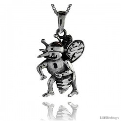Sterling Silver Bee Pendant, 1 1/2 in tall