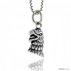 Sterling Silver Eagle Head Pendant, 1/2 in tall