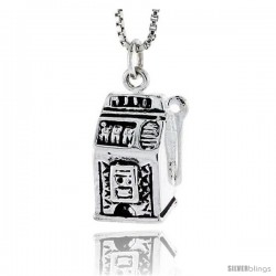 Sterling Silver Slot Machine Pendant, 5/8 in tall