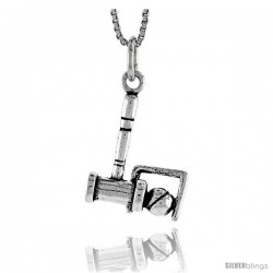 Sterling Silver Croquet Stick and Ball Pendant, 3/4 in tall
