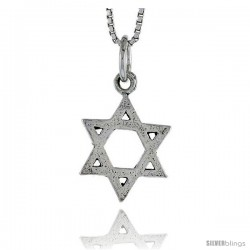 Sterling Silver Star of David Pendant, 5/8 in tall