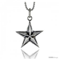 Sterling Silver Star Pendant, 3/4 in tall