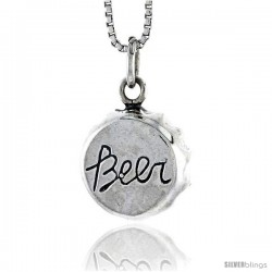 Sterling Silver Beer Cap Pendant, 1/2 in tall