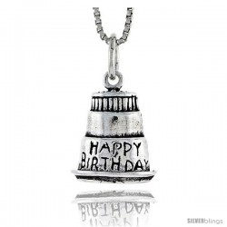 Sterling Silver 3-layer Birthday Cake Pendant, 1/2 in tall