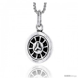 Sterling Silver Mug Wheel Pendant, 1/2 in tall