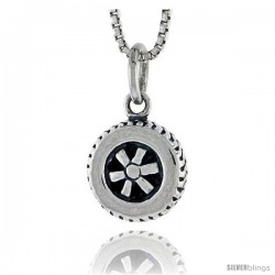 Sterling Silver Wheel Pendant, 1/2 in tall