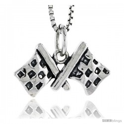 Sterling Silver Checkered Flags Pendant, 3/8 in tall