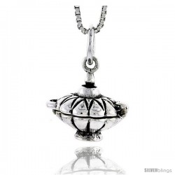 Sterling Silver Soup Kettle Locket Pendant, 1/2 in tall